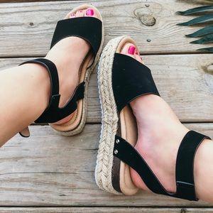Shoes - Black Espadrille Sandals